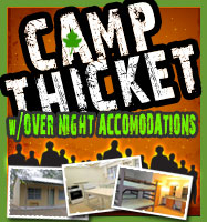 camp thicket with over night accomodations